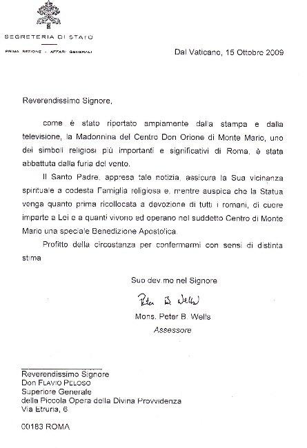 Messaggio del Papa (15-10-2009)