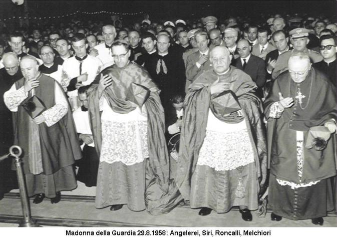 Giovanni XXIII con card. Siri a Tortona nel 1958
