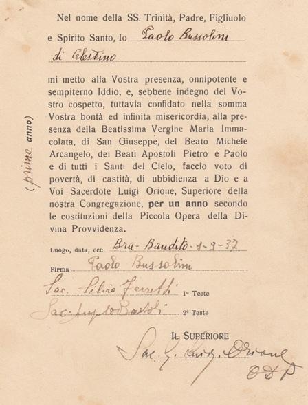 Prima professione ricevuta da Don Orione, 1937