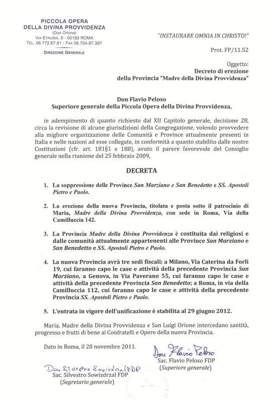 Il Decreto di erezione della nuova Provincia