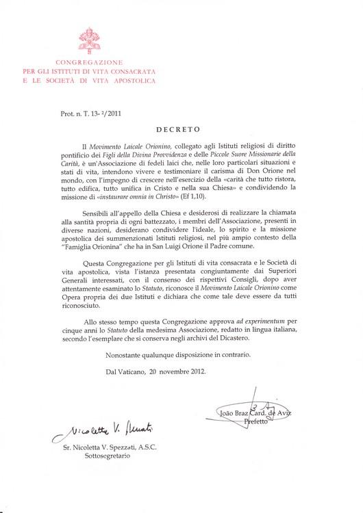 Il Decreto di approvazione pontificia del MLO