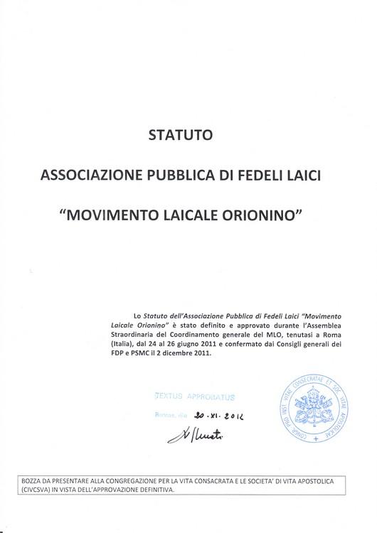 La prima pagina dello Statuto del MLO approvato ed autenticato dal Vaticano