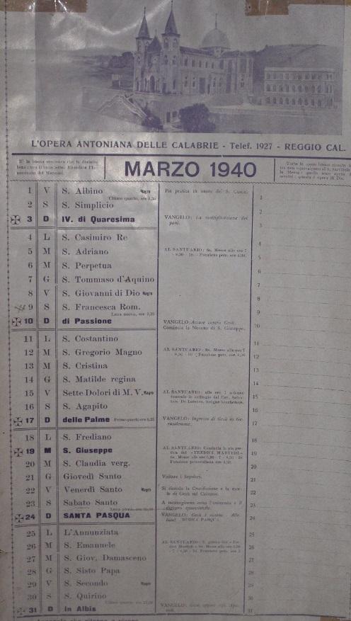 Il Calendario nella cameretta di Don Orione: Marzo 1940.