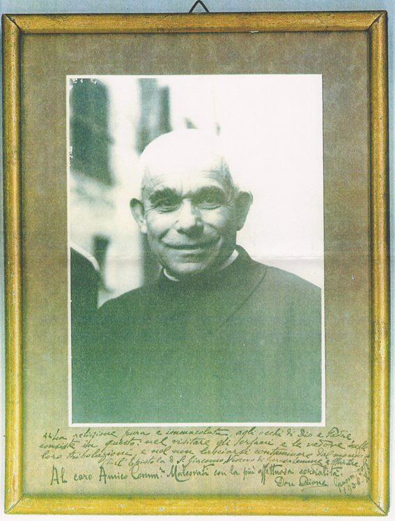Il quadretto con dedica di Don Orione a Malcovati